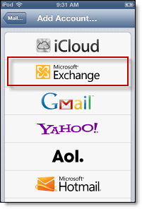 Exchange account iPhone