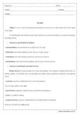 Atividade de português: As sílabas e suas classificações - 5º ano