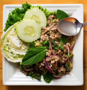 Larb salad at Larb Ubol