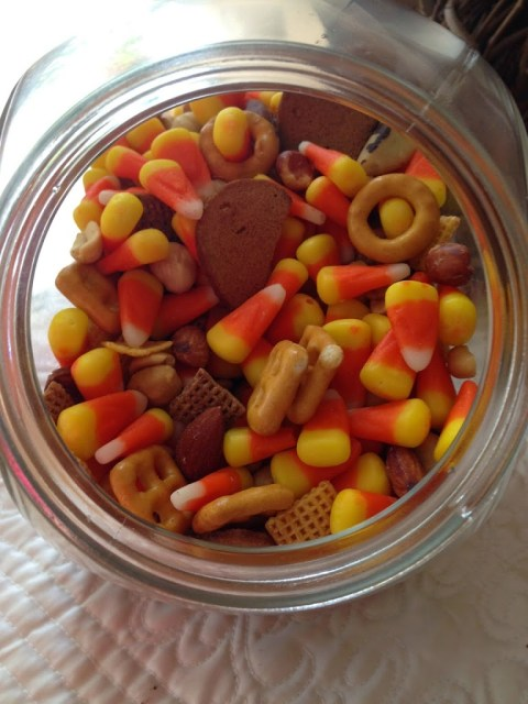 candy corn and chex mix