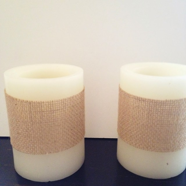 Burlap and heart wraps for Valentine's Day Candles