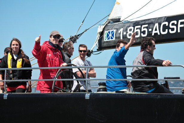 Corporate folks enjoying team company on San Francisco bay