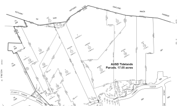 Alameda County Tax Assessor parcel map of the two AUSD tidelands parcels.