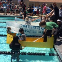 ACLC and Nea learners launch their boats in the 17th annual Cardboard Boat Race. (Patti Wilczek)