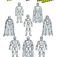 Illustration of suggested sample combinations of figures and parts using the contents of the kit.
