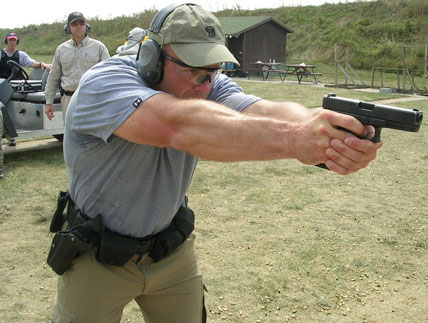 Running my Glock 21 hard at one of Henk Iverson's classes.  A rear frame rail broke off soon after the class.  the whole gun was replaced by Glock.  It only had 32,000 rounds through it.