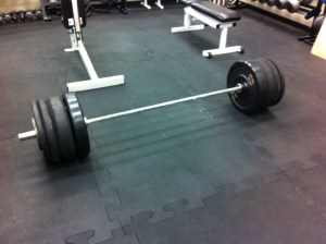 315 lbs of bumper plates for a recent power clean workout