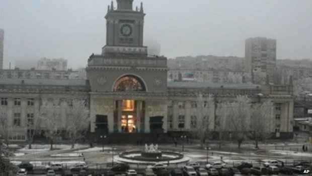 The Volgograd train station at the moment of the explosion