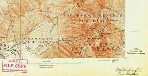 USGS 1893 Mount Washington Topo Map Section