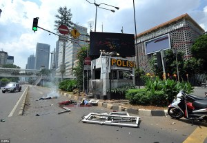 Results of the grenade and suicide bomb attack on the police substation. Picture from the liked Daily Mail article.