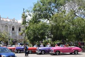 All of these are taxi cabs waiting for fares outside of one of the larger hotels in Havana