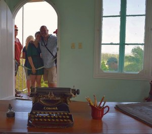 Lauren and I in the doorway of Hemmingway's writing tower from his desk.