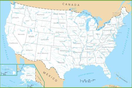 carte des usa (etats unis) cartes du relief, villes