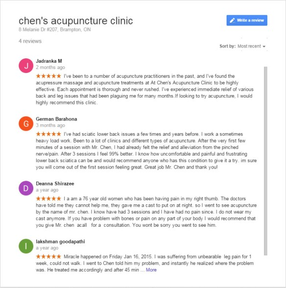 Chen's Acupuncture Clinic in Brampton Reviews