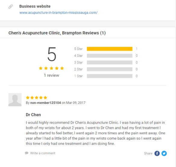 Chen acupuncture brampton review on n49