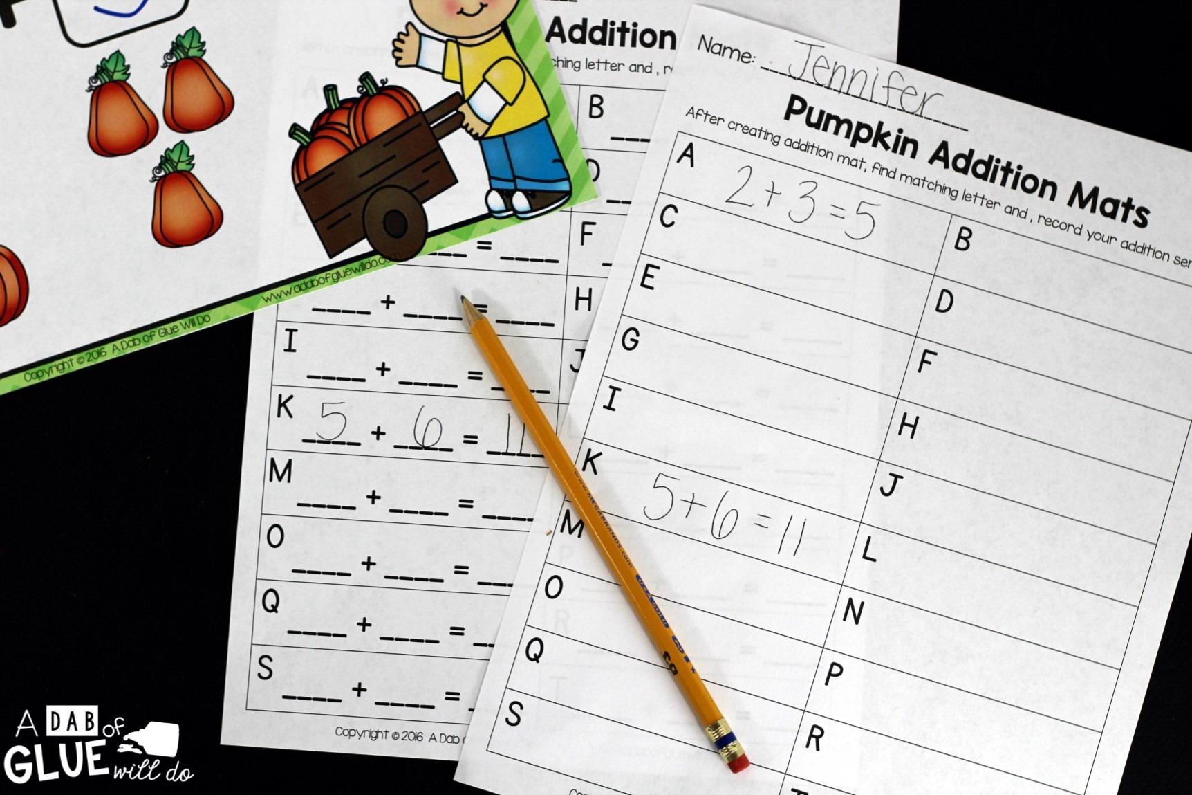 Addition Math Mats For Kindergarten