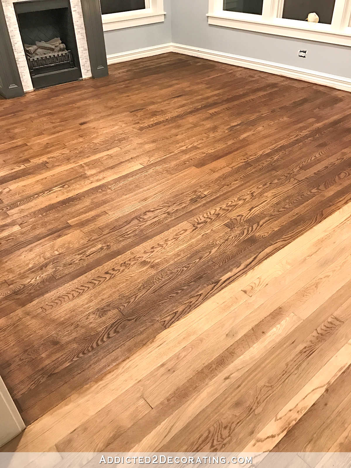 Distinctive Staining My Red Oak Hardwood S Red Oak Stained Red Oak Stained Light Staining Red Oak Hardwood S Stain On Living Room Adventures houzz 01 Red Oak Stain
