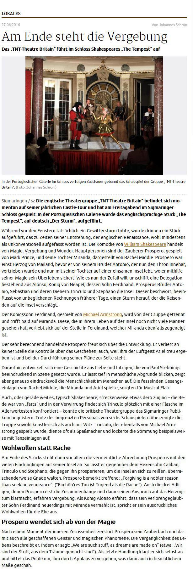 The Tempest Schwäbische Zeitung