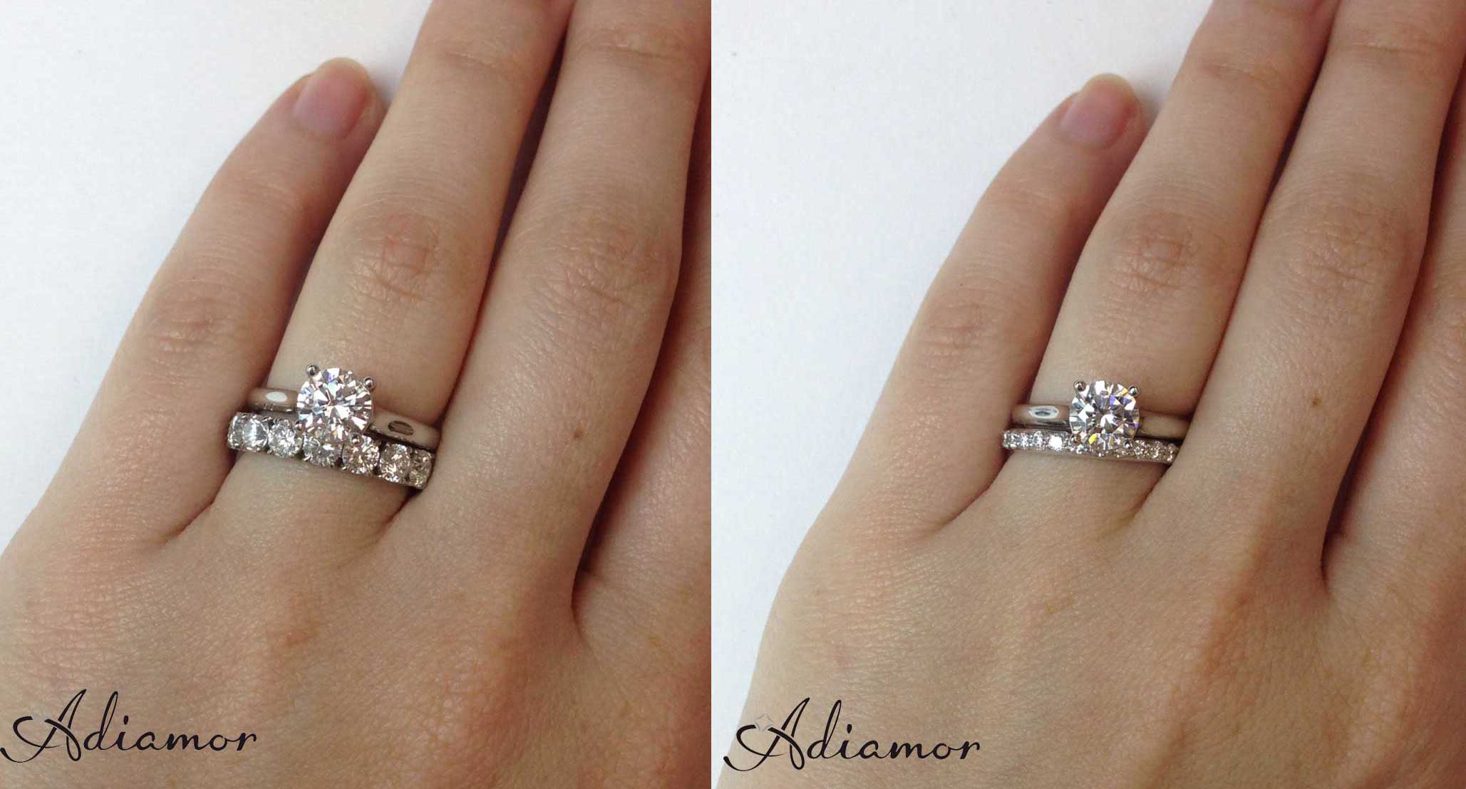 wedding ring wedding ring with band Solitaire Diamond Ring with 1 cttw and 3 cttw Eternity Bands