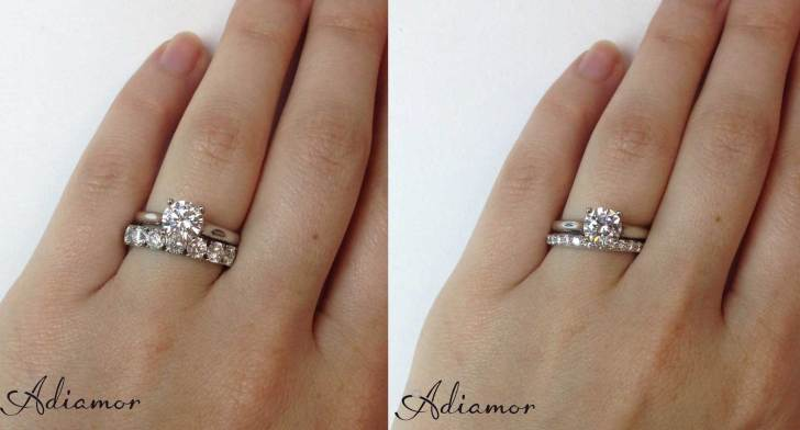 how do people wear wedding bands stacked wedding rings set Solitaire Diamond Ring with 1 cttw and 3 cttw Eternity Bands