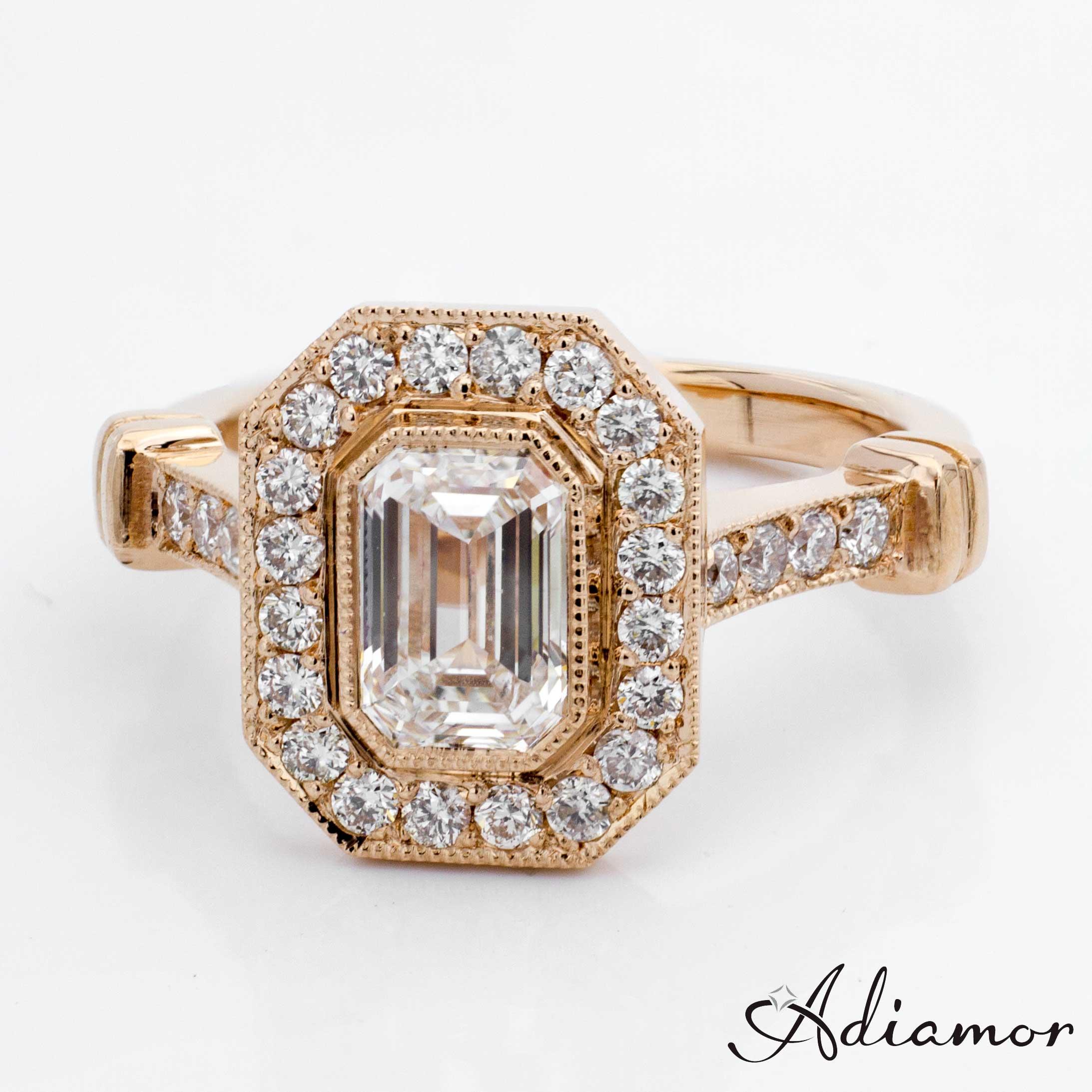emerald cut diamond custom engagement rings emerald cut wedding rings Custom Rose Gold Emerald Cut Diamond Engagement Ring