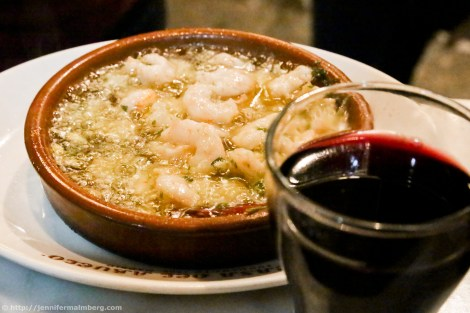 Casa Abuelo's garlic shrimp on my Madrid food tour