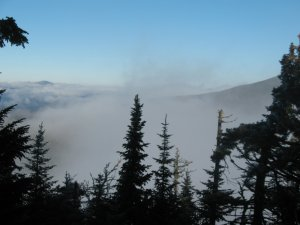 Lake Placid basin in the clouds, from Kuma's View