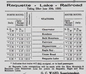 1900 raquett lake railway schedule_0