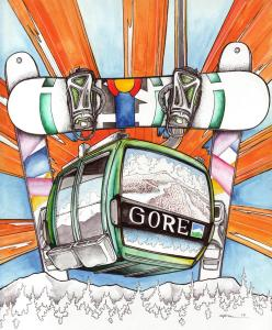 Gore Gondola, pen and ink with watercolor by Evan Chismark