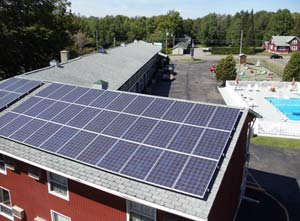 solar panels at Shaheens Motel in Tupper Lake