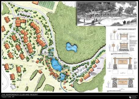 The architectural drawing shows a portion of the proposed Adirondack Club and Resort.