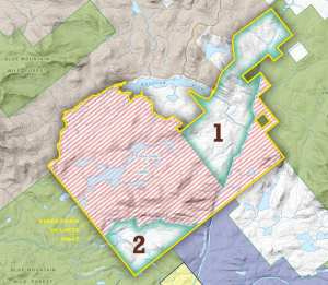 The two numbered parcels will be open to the public this spring. The pinstriped land will open sometime this fall. Courtesy NYSDEC