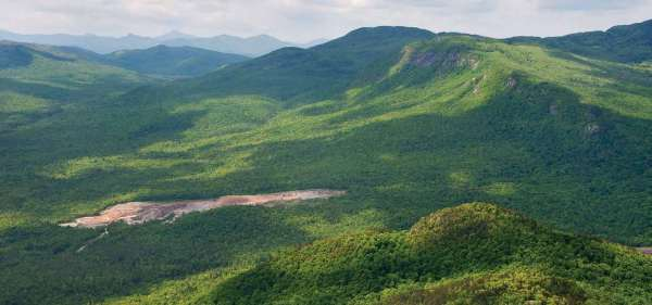 A land swap with NYCO Minerals (foreground) would expand the Jay Mountain Wilderness, which stretches behind the mine. Photo by Carl Heilman ll