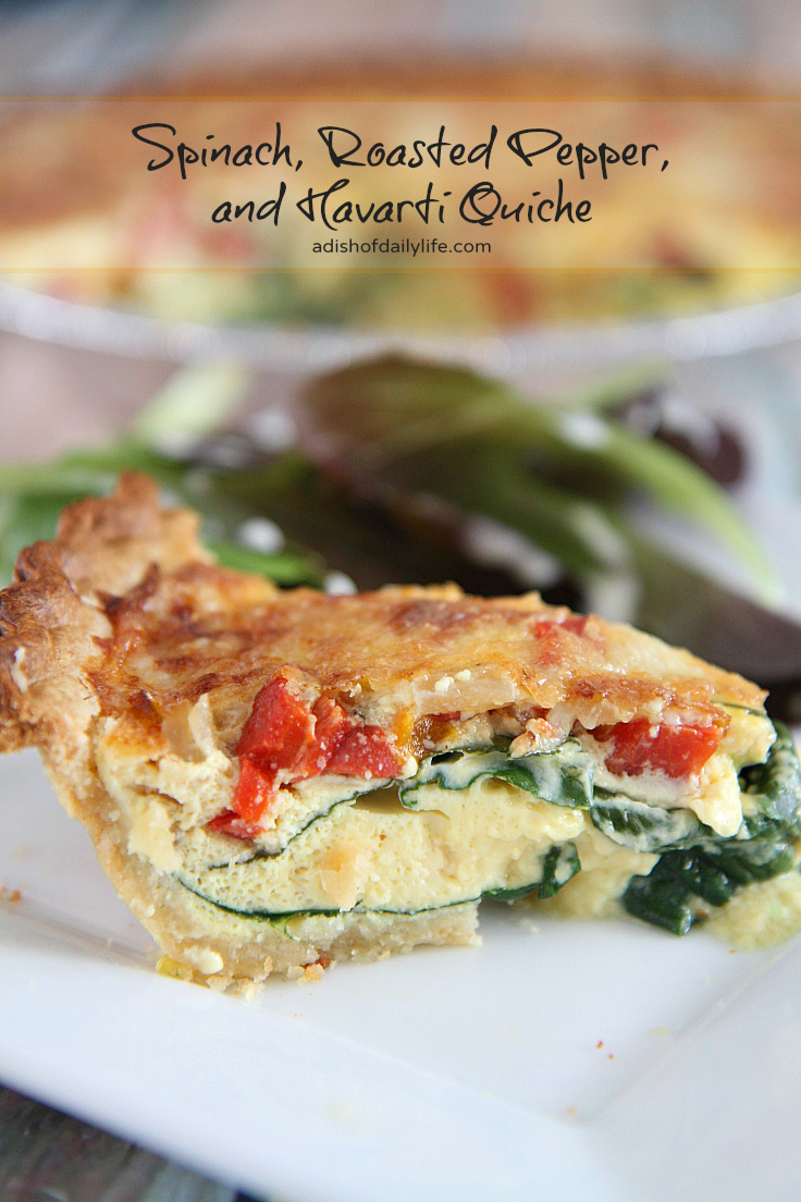 This delicious Spinach, Roasted Pepper, and Havarti Quiche is the perfect recipe for a holiday breakfast or brunch!