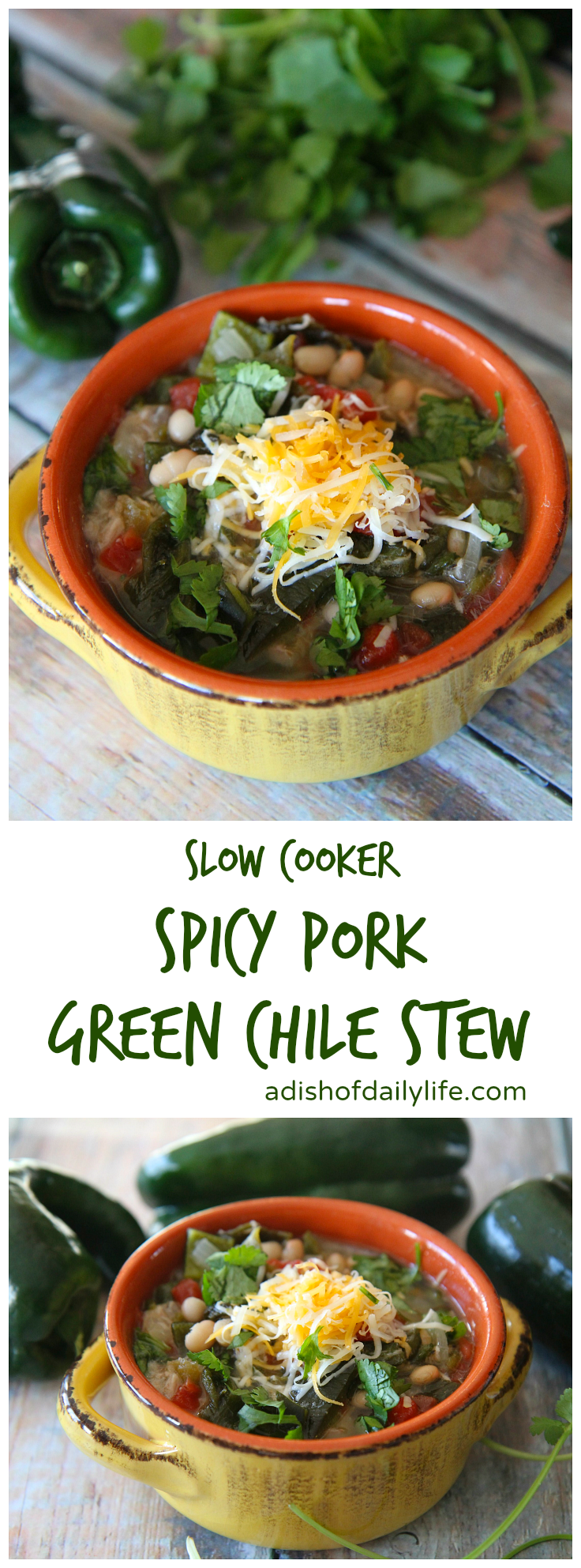 This hearty Slow Cooker Spicy Pork Green Chile Stew is great for the game day party crowd as well as weeknight suppers. Follow the recipe as is when cooking for dinner, and you should have enough to freeze for leftovers!