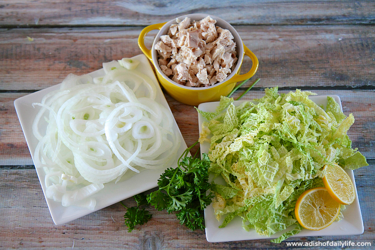 Ingredients for chicken and cabbage soup with quinoa