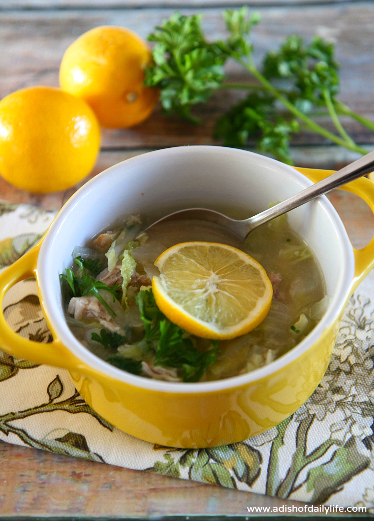 Lemony Chicken and Cabbage Soup with Quinoa