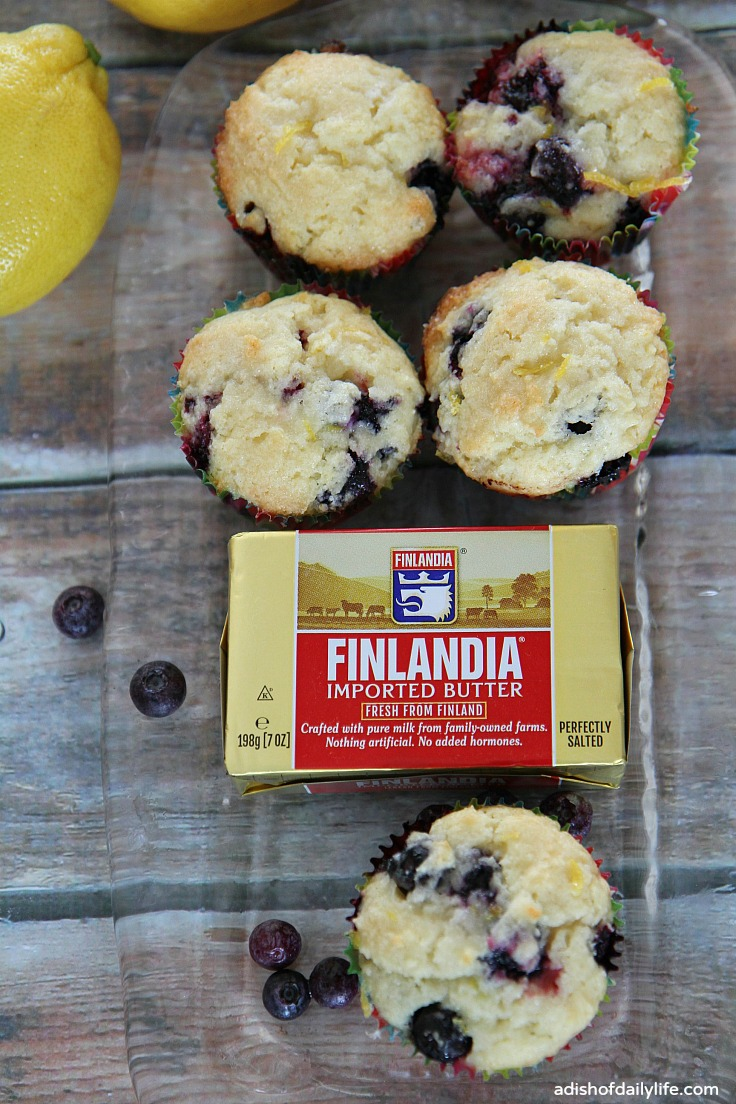 Glazed Lemon Blueberry Mufins with Finlandia gourmet butter
