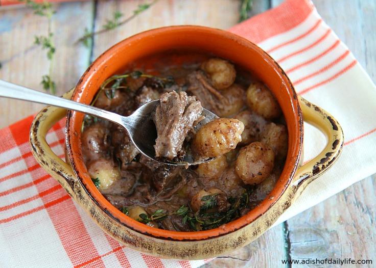 Gnocchi with Cabernet Cream Sauce & Braised Beef