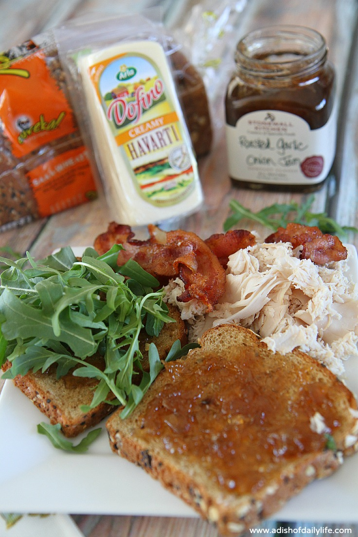 Havarti, Turkey, Bacon, Arugula, Roasted Garlic Onion Jam National Grilled Cheese Month