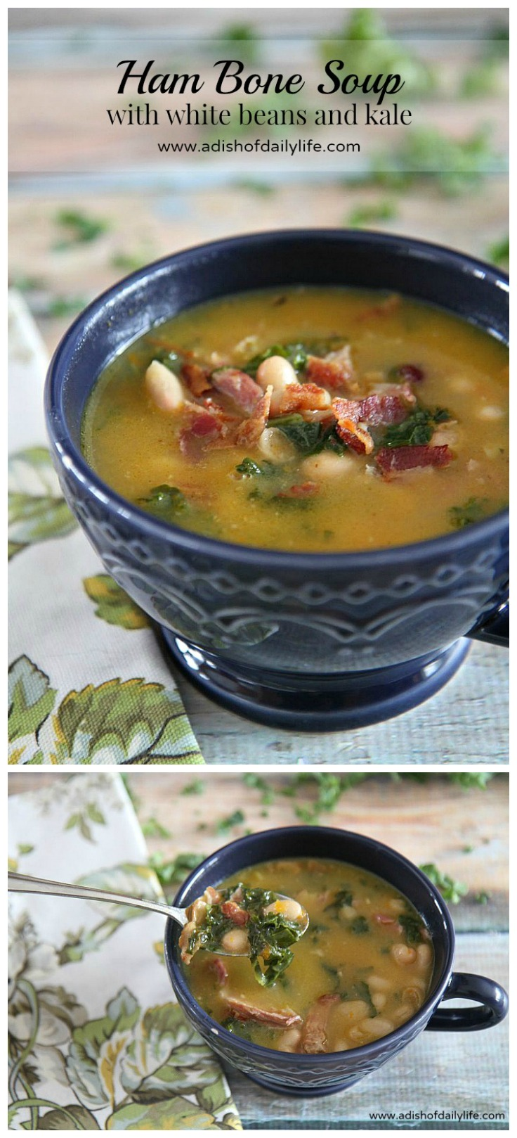 Rich in flavor, this hearty ham bone soup with white beans and kale is the perfect comfort food to warm your bones on a chilly or damp and rainy day. Great way to use up your leftover Christmas or Easter ham bone as well!