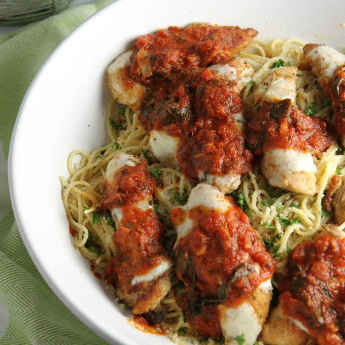 Chicken Parmesan Tenderloins over Roasted Garlic Spaghetti
