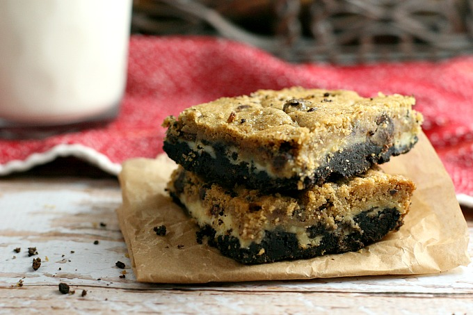 Cheesecake Cookie Bars with Oreos and Chocolate Chip Cookie Dough