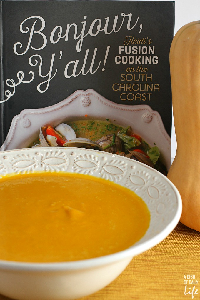 This delicious easy Butternut Squash Soup recipe is perfect for your fall, winter or holiday dinner menu! It's smooth and rich, with gourmet taste, yet simple to make, with only 6 ingredients! Freeze any leftovers for later.