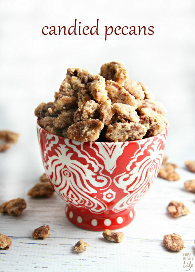 Candied pecans...great holiday gift, easy recipe for your Christmas cookie exchange, and a lovely addition to your holiday dessert table. Use them in salads and as a topping for desserts too. This is a MUST MAKE recipe this holiday season! Only 6 ingredients.