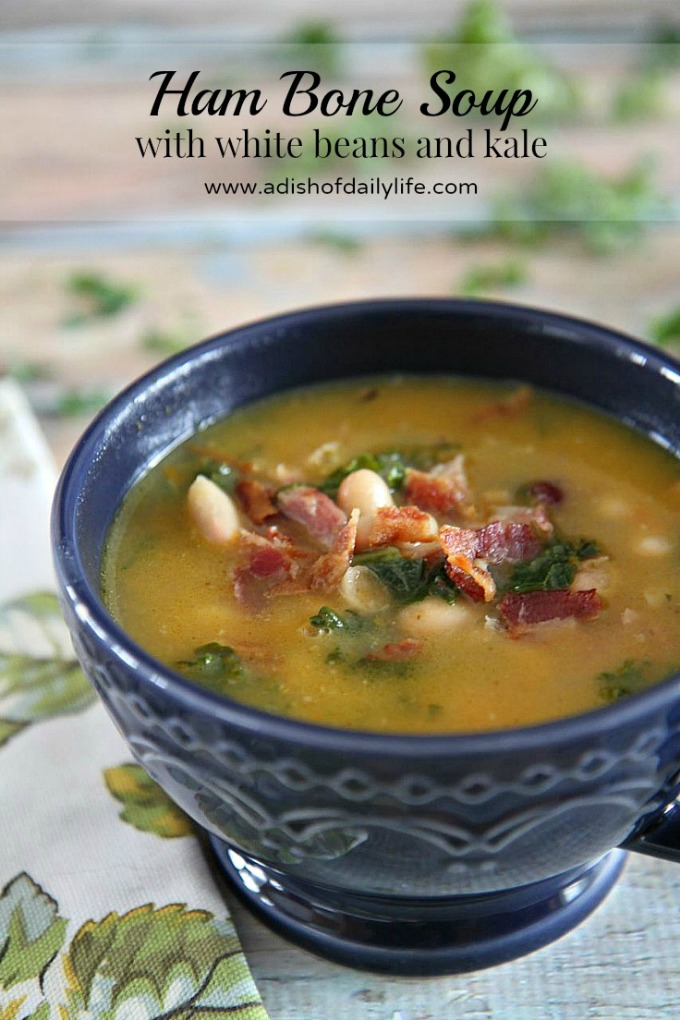 Rich in flavor, this hearty Ham Bone Soup with white beans and kale is a great way to use up your leftover Christmas ham bone. And it's the perfect comfort food to warm your bones on a chilly day!