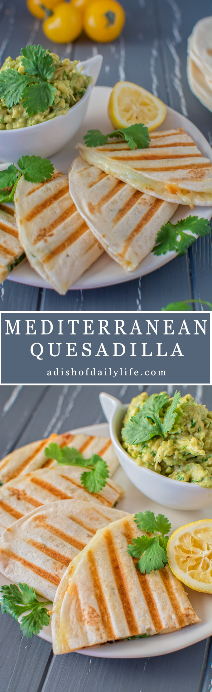This 15-minute, healthy vegetarian Mediterranean Quesadilla filled with mushrooms, olives and bell peppers can serve as a quick lunch or a light dinner. Serve it with guacamole or a fresh salad. Great recipe for game day too!