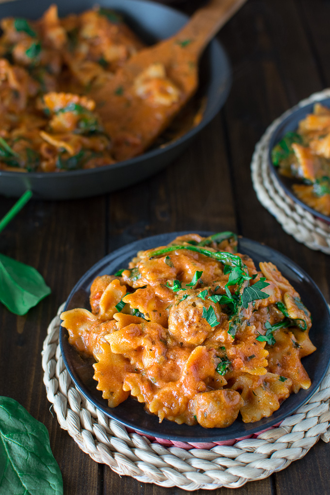 Mini Italian sausage meatballs cooked with Bow Tie pasta in a creamy tomato sauce. Ready in 30 minutes!