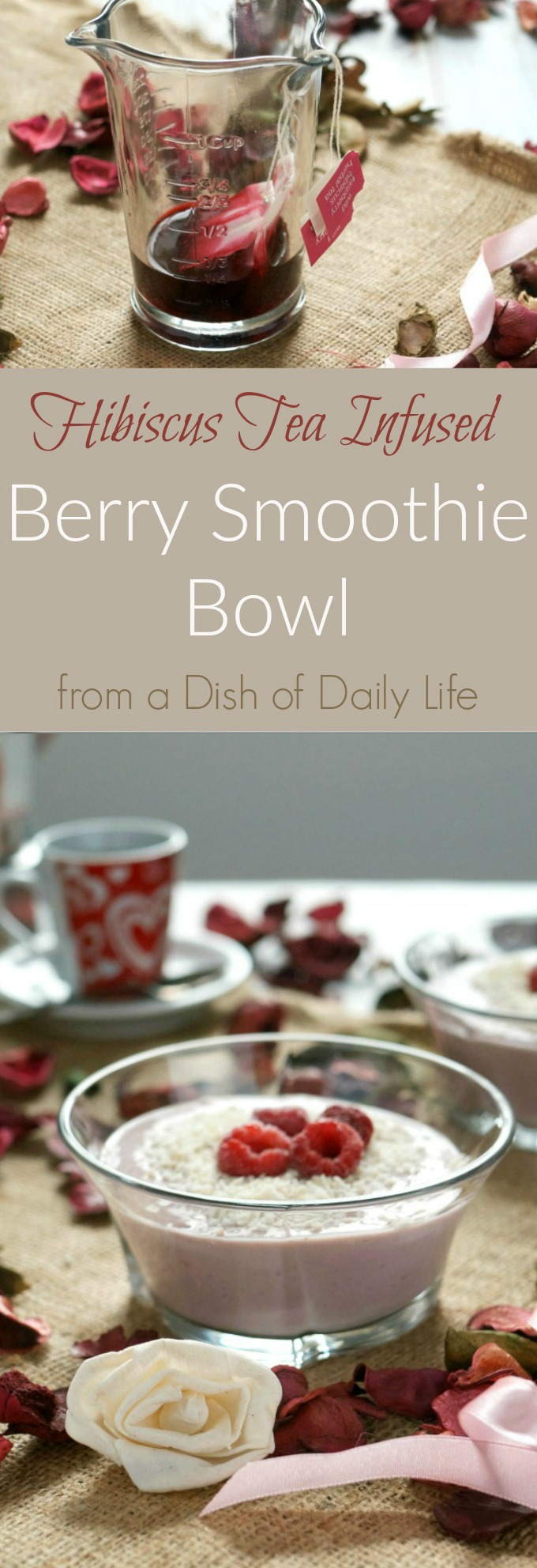 Start your day off right with this dairy free berry smoothie bowl. It's naturally sweet, packed with protein and infused with hibiscus tea.