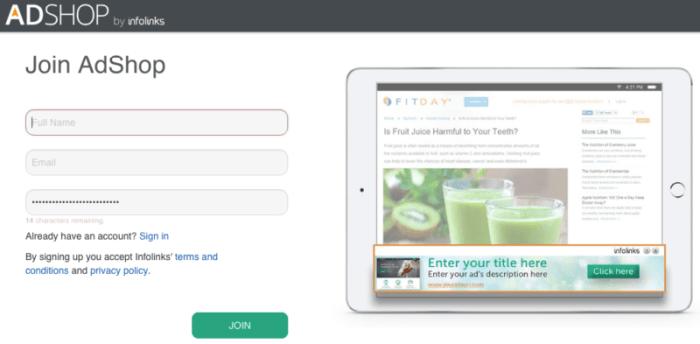 AdShop sign up